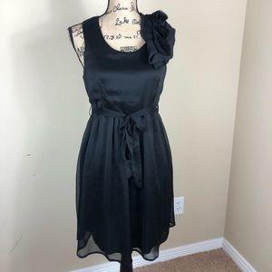Ya Black Sleeveless Silk Cocktail Dress M